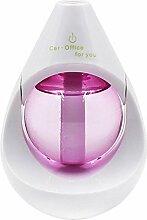 JIAYUE Wassertröpfchen-Form-Luftbefeuchter Ultraschallzerstäubungs-Aroma-Diffusor LED-Stimmungs-Licht 360 Grad-drehendes USB-Stromversorgungs-stummes Auto und Ausgangsgebrauch , Pink
