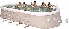 Jilong Chinook Quick-Up Swimming Pool Set 610x360x122 cm mit Oval-Pool Becken Pumpe Leiter Bodenplane Abdeckplane, Stahlrohr Schwimmbecken Stahlrahmen Schwimmbad Familienpool inkl. Zubehör