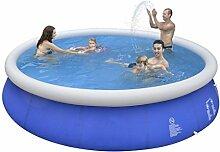 Jilong Marin Blue Rundpool Ø 450x90 cm Quick-Up Swimming Pool Fast-Set Schwimmbad Kinder und Familien Schwimmbecken Schwimmbad für Garten und Terasse, Ersatzbecken ohne Zubehör