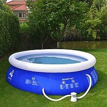 Jilong Marin Blue Rundpool Set Ø 240x63 cm mit Becken Pumpe Filter-Kartusche, Quick-Up Swimming Pool Fast-Set Kinder und Familien Schwimmbecken Schwimmbad für Garten und Terasse