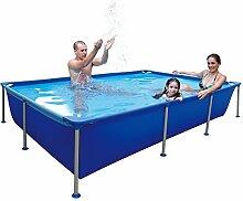 Jilong Passaat Swimming Pool 258x179x66 cm rechteck Becken, Stahlrohr Schwimmbecken Stahlrahmen Schwimmbad Familienpool Ersatzbecken ohne Zubehör für Garten und Terasse