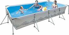 Jilong Passaat Swimming Pool 394x207x80 cm rechteck Becken, Stahlrohr Schwimmbecken Stahlrahmen Schwimmbad Familienpool Ersatzbecken ohne Zubehör für Garten und Terasse