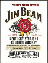 Jim Beam Kentucky Straight Bourbon Whisky. Flasche Label mit Stempel. Drink. Whisky Flasche. Für Kneipe, Bar, House, Zuhause oder in der Küche. Aus Metall/Stahl Wandschild, stahl, 30 x 40 cm