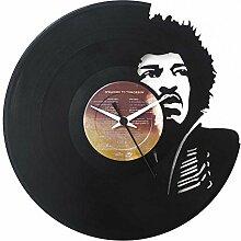 Jimi Hendrix, Geschenkidee, Vinyl Schallplatten- Uhr, Schwarz, Vinyluse Original