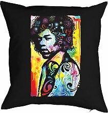 Jimi Hendrix Musiker - Bezug für Kissen - Neon Pop Art Musik Motiv - Hendrix E-Gitarren - buntes Rockmusiker Portrait - Motiv Kissenhülle Deko 40x40cm schwarz : )