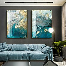 JinYiGlobal Abstraktes Aquarellblau goldenes