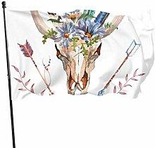 JINCAII Stierkopf mit Blumen und Federn Flagge
