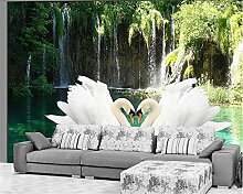 JING DIAN-Fototapete 3D Wallpaper Swan Wasserfall
