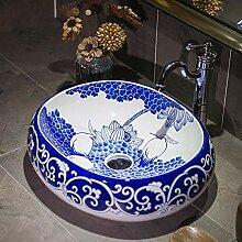 Jingdezhen Keramik Waschbecken Oval Chinesische