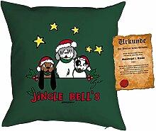 Jingle Bells Jingle Bells Polster Geschenkidee Kuschelkissen Kissen - Geschenk Weihnachten Nikolaus Advent Geschenkidee