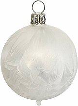 Jingle Bells Lauscha Christbaumkugel 8cm eisweiß