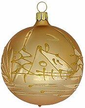 Jingle Bells Lauscha Christbaumkugel 8cm Gold matt