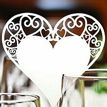 Jingxu 50st Tischkarten Geburtstag Glas Platzkarten Glasanhänger Weinglas Cup Deko Champagnerglas Deko Gastgeschenk Hochzeit Party Tischdeko Herz, Vogel, LOVE, Schmetterling