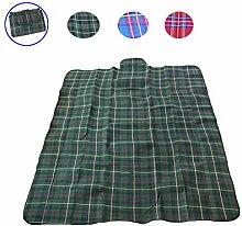 JinQiu Picknickdecke 200x150 cm Outdoor Grill Camping Strand Reisedecke Wasserdicht und Sandsicher Unterstützung Faltbare Yoga Spielmatte (Grün)