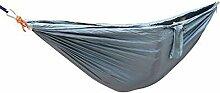 JINQIU Ultraleichte Camping Hängematte mit Befestigungsset, 275 x 140 cm, 200 kg Tragfähigkeit, schnell trocknende Fallschirm Nylon, Ultraleicht für Reisen, Camping, Outdoor, Silber-Grau