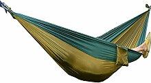 JINQIU Ultraleichte Hängematte 275 x 140 cm, Belastbarkeit bis 200 kg, schnell trocknende Fallschirm Nylon, Reisehängematte Outdoor Camping Reisen Hängematte, Khaki/Dunkelgrün