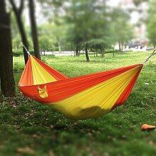 JINQIU Ultraleichte Hängematte 275 x 140 cm, Belastbarkeit bis 200 kg, schnell trocknende Fallschirm Nylon, Reisehängematte Outdoor Camping Reisen Hängematte, Gelb/Orange