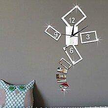 JinRou Modern-europ?isch 3D gr¨¹n Schlafzimmer Uhr Mode Wohnzimmer Uhr Poker Muster Spiegel Wand Aufkleber Zimmer Dekoration Ideen Wanduhr , black