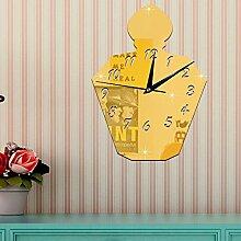 JinRou Modern-europ?isch 3D gr¨¹n Spiegel dekorative Wand Aufkleber Uhr kreative Parf¨¹m Flaschen Spiegel Uhr gr¨¹ne Stereo Mute Schlafzimmer Wand Uhr Zimmer Wanddekorationen , gold