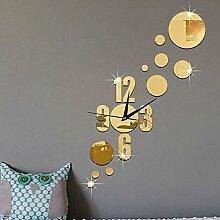 JinRou Modern-europ?isch 3D Stereo gr¨¹n-Spiegel-Wanduhr DIY kreative Einfachheit circle Spiegel Schlafzimmer W?nde gr¨¹n Stereo Mute Uhren Wand Uhr Zimmer Dekoration Ideen Wanduhr , gold