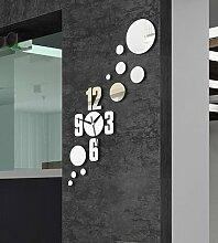 JinRou Modern-europ?isch 3D Stereo gr¨¹n-Spiegel-Wanduhr DIY kreative Einfachheit circle Spiegel Schlafzimmer W?nde gr¨¹n Stereo Mute Uhren Wand Uhr Zimmer Dekoration Ideen Wanduhr , black
