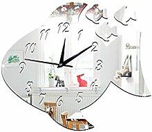 JinRou Modern-europ?isch 3D Uhr dekorierte Kinderzimmer interessante Dekorative Uhr gro?e Fische Spiegel Uhr gr¨¹ne Stereo Mute Zimmer Dekoration Ideen Wanduhr , Silver