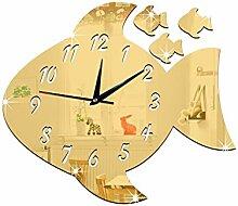 JinRou Modern-europ?isch 3D Uhr dekorierte Kinderzimmer interessante Dekorative Uhr gro?e Fische Spiegel Uhr gr¨¹ne Stereo Mute Zimmer Dekoration Ideen Wanduhr , Golden
