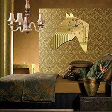 JinRou Modern-europ?isch Bell kreative Wohnzimmer Schlafzimmer Dekoration DIY ruhigen Pferd Wand Uhr Kontemplation kreative Wanduhren gr¨¹n Wandsticker , gold