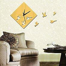 JinRou Modern-europ?isch Beobachten von V?geln Dekorative Uhr Kristall Acryl Spiegel Aufkleber Uhr Stereo Wand Sticker Wanduhr , Golden