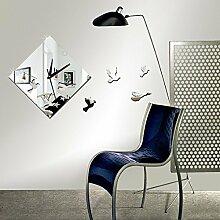 JinRou Modern-europ?isch Beobachten von V?geln Dekorative Uhr Kristall Acryl Spiegel Aufkleber Uhr Stereo Wand Sticker Wanduhr , Silver