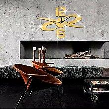 JinRou Modern-europ?isch Brief x-f?rmigen Spiegel Uhr kreative DIY Wand Aufkleber Wand Wanduhren Wanduhr Uhr Wandaufkleber , Golden