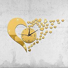 JinRou Modern-europ?isch DIY Acryl Spiegel Uhren stumm Stereo Uhr Liebe Wand Aufkleber Ideen Uhr gr¨¹ne Stereo Mute Uhr Zimmer Wanddekorationen , Golden