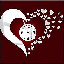 JinRou Modern-europ?isch DIY Acryl Spiegel Uhren stumm Stereo Uhr Liebe Wand Aufkleber Ideen Uhr gr¨¹ne Stereo Mute Uhr Zimmer Wanddekorationen , red