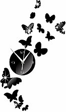 JinRou Modern-europ?isch DIY Acryl Spiegel Uhren Wanduhr Uhren Wand Sticker Schmetterlinge Schwarm Spiegel Uhr Wand Sticker gr¨¹n Stereo Mute Zimmer Dekoration Ideen Wand , black