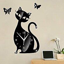 JinRou Modern-europ?isch DIY Spiegel Wand Uhr Schlafzimmer Zimmer leise Wand Uhr Cartoon schwarze Katze Wand Aufkleber Uhr gr¨¹ne Stereo Mute Zimmer Dekoration Ideen Wanduhr , black