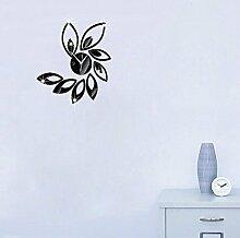 JinRou Modern-europ?isch DIY Wand Aufkleber Uhr Spiegel Mode Lotus Uhr DIY Wand Aufkleber Wand Uhr Farbe gr¨¹n Stereo Mute Zimmer Dekoration Ideen Wanduhr , black