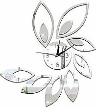 JinRou Modern-europ?isch DIY Wand Aufkleber Uhr Spiegel Mode Lotus Uhr DIY Wand Aufkleber Wand Uhr Farbe gr¨¹n Stereo Mute Zimmer Dekoration Ideen Wanduhr , silver