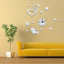 JinRou Modern-europ?isch Dreidimensionale digitale Wanduhr dekoriert die Wohnzimmer Spiegel Wand Uhr Wand Uhr Uhren Zimmer Dekoration Ideen Wanduhr , Silver