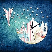 JinRou Modern-europ?isch Engel Blasen die Sternen Spiegel Stock Acryl-Wand-Uhr kreative 3D Wand Uhr Tabelle Uhr gr¨¹ne Stereo Mute Zimmer Dekoration Ideen Wanduhr , silver