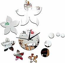 JinRou Modern-europ?isch Esszimmer Wohnzimmer Schlafzimmer Wandsticker Zimmer Dekoration Ideen Wand Uhr Wand Uhr Dekoration Uhr kreative Uhr Redbud Spiegel Wandsticker , silver