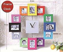 JinRou Modern-europ?isch Foto Rahmen Wand Uhr wasserdichte gr¨¹ne Stereo Mute Zimmer Dekoration Ideen Wanduhr Uhr Uhr Uhr