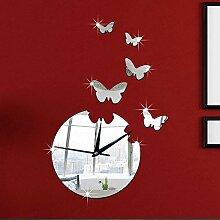JinRou Modern-europ?isch Gr¨¹ne Schlafzimmer Wohnzimmer Stereo Mute Uhr Wand Uhr Silber Schmetterling Spiegel Wand Zimmer Dekoration Ideen Wanduhr , red