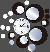 JinRou Modern-europ?isch Gr¨¹nen Kristall Spiegel Uhr Stereo Kombination Quarz Kugel DIY Wand Uhr Zimmer Deko-Ideen-Wanduhr , black