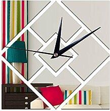 JinRou Modern-europ?isch Green Crystal dekorative Uhrzeiteinstellung Sofa 3D-Geometrie rautenf?rmigen Spiegel Wand Aufkleber Zimmer Dekoration Ideen Wanduhr , Silver