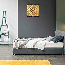 JinRou Modern-europ?isch Green Crystal dekorative Uhrzeiteinstellung Sofa 3D-Geometrie rautenf?rmigen Spiegel Wand Aufkleber Zimmer Dekoration Ideen Wanduhr , Golden