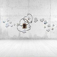 JinRou Modern-europ?isch Herz Uhr Spiegel Wand Uhr Aufkleber Wand Uhr Diy Wand Uhr Dekoration Uhr gr¨¹ne Stereo Mute Zimmer Dekoration Ideen Wanduhr , silver: 30x75cm