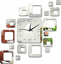 JinRou Modern-europ?isch Kreative Acryl Spiegel Wand Aufkleber Wand Uhr Wand Aufkleber Ideen k?nnen gr¨¹ne Stereo Mute Zimmer Dekorationen Uhren , silver