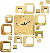 JinRou Modern-europ?isch Kreative Acryl Spiegel Wand Aufkleber Wand Uhr Wand Aufkleber Ideen k?nnen gr¨¹ne Stereo Mute Zimmer Dekorationen Uhren , gold