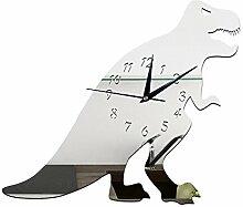 JinRou Modern-europ?isch Kreative DIY dekorative Wanduhr f¨¹r Kinder Dinosaurier Hintergrund Cartoon Uhr Wand Uhr gr¨¹ne Stereo Mute Zimmer Dekoration Ideen Wanduhr , Silver