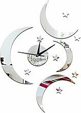 JinRou Modern-europ?isch Kreative DIY Moon leise Uhr Wand Aufkleber Wohnkultur Wand Aufkleber Wandsticker Spiegel Muster gr¨¹n Stereo Mute Zimmer Dekoration Ideen Wanduhr , silver